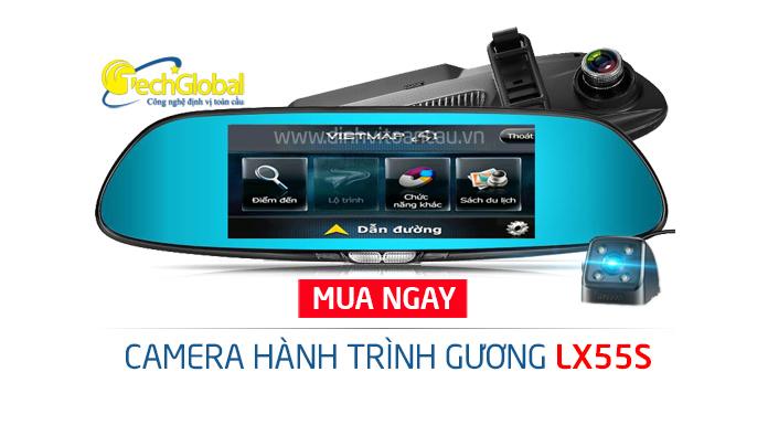 Camera hành trình gương LX55s 2 mắt camera