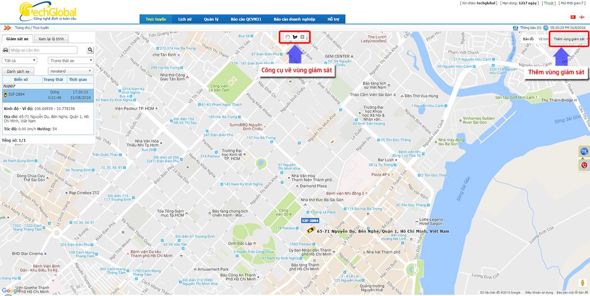 Hướng dẫn thêm vùng giám sát trên phần mềm định vị GPS Techglobal