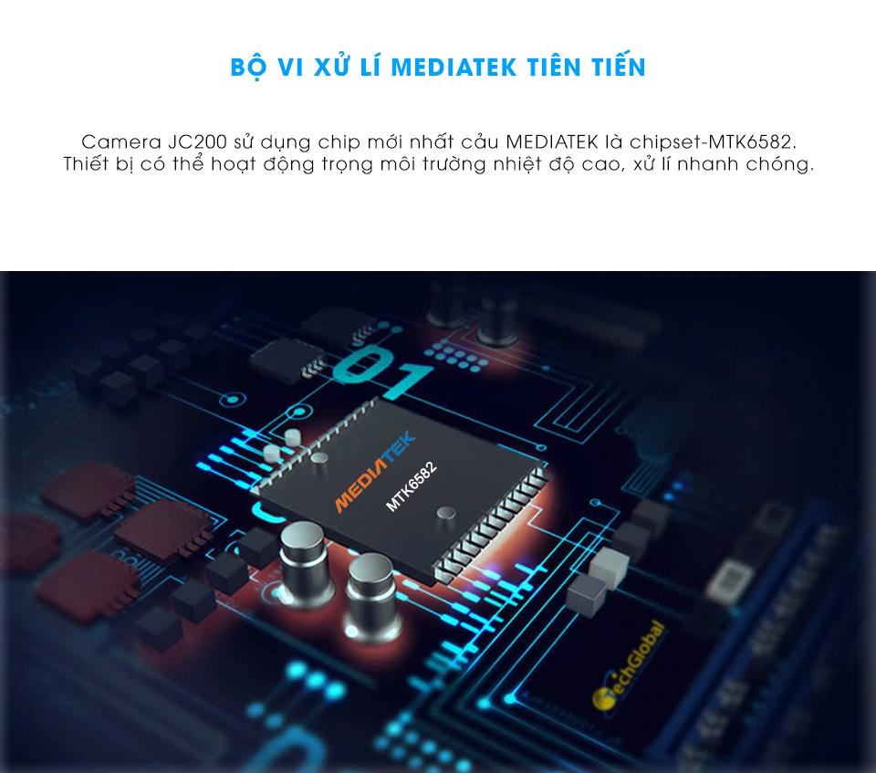 Camera hành trình ô tô Vietmap VM200 tích hợp bộ vi xử lý Mediatek tiên tiến giúp camera xử lý nhanh chóng