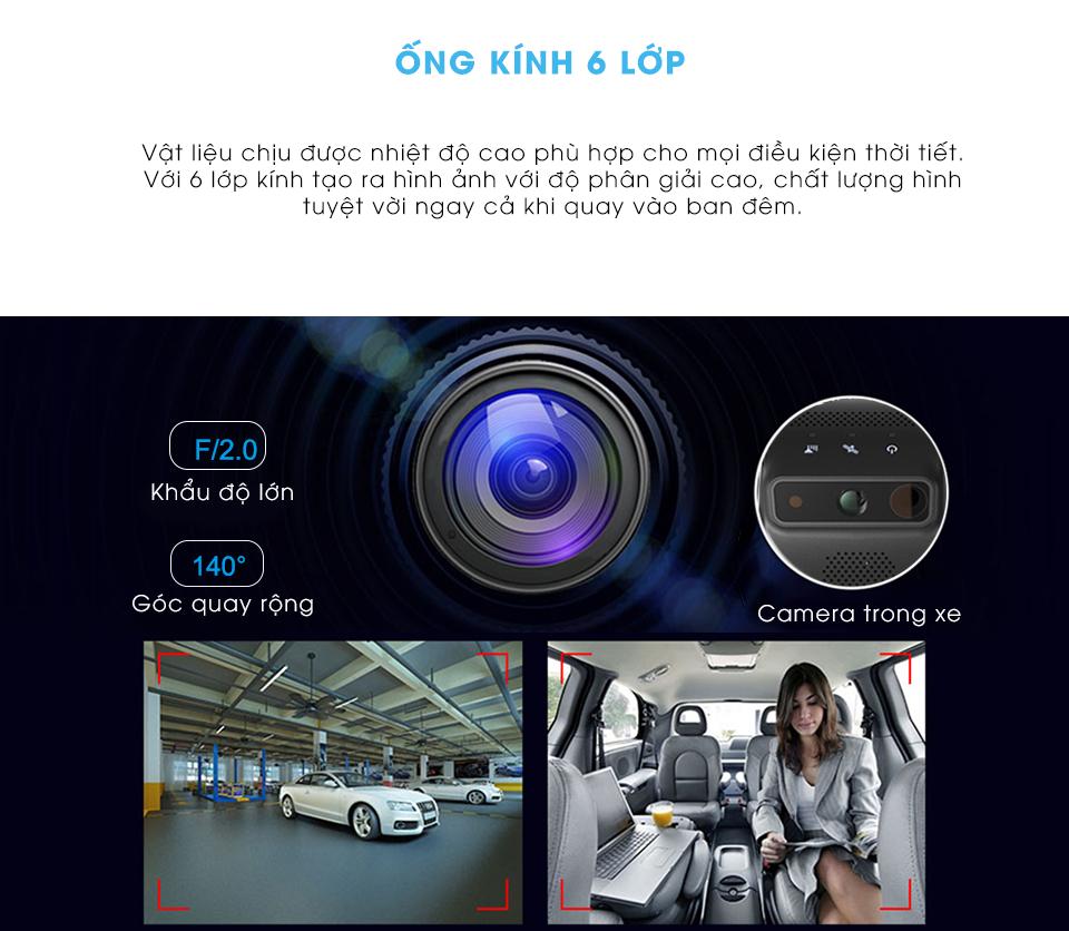 Vietmap VM200 được trang bị ống kính 6 lớp tạo ra hình ảnh với đội phân giải cao, chất lượng hình ảnh tuyệt vời cả khi quay vào ban đêm.
