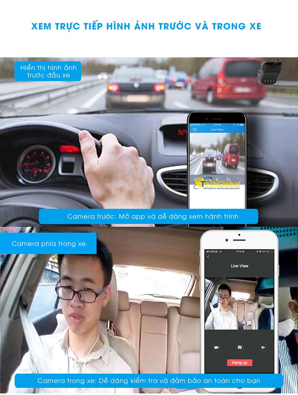 Camera hành trình JC200 hỗ trợ xem ảnh trước và trong xe