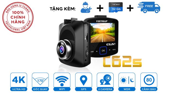 Camera hành trình Vietmap C62S quay 2 mắt đẳng cấp có cảnh báo tốc độ