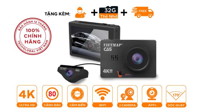 Camera hành trình Vietmap C65 Ghi hình trước sau Ultra 4K - Có Wifi - GPS - Cảm ứng