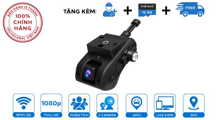 Camera hành trình Vietmap iCAM VM200 Xem Video Online, 2 mắt, WIFI, 3G