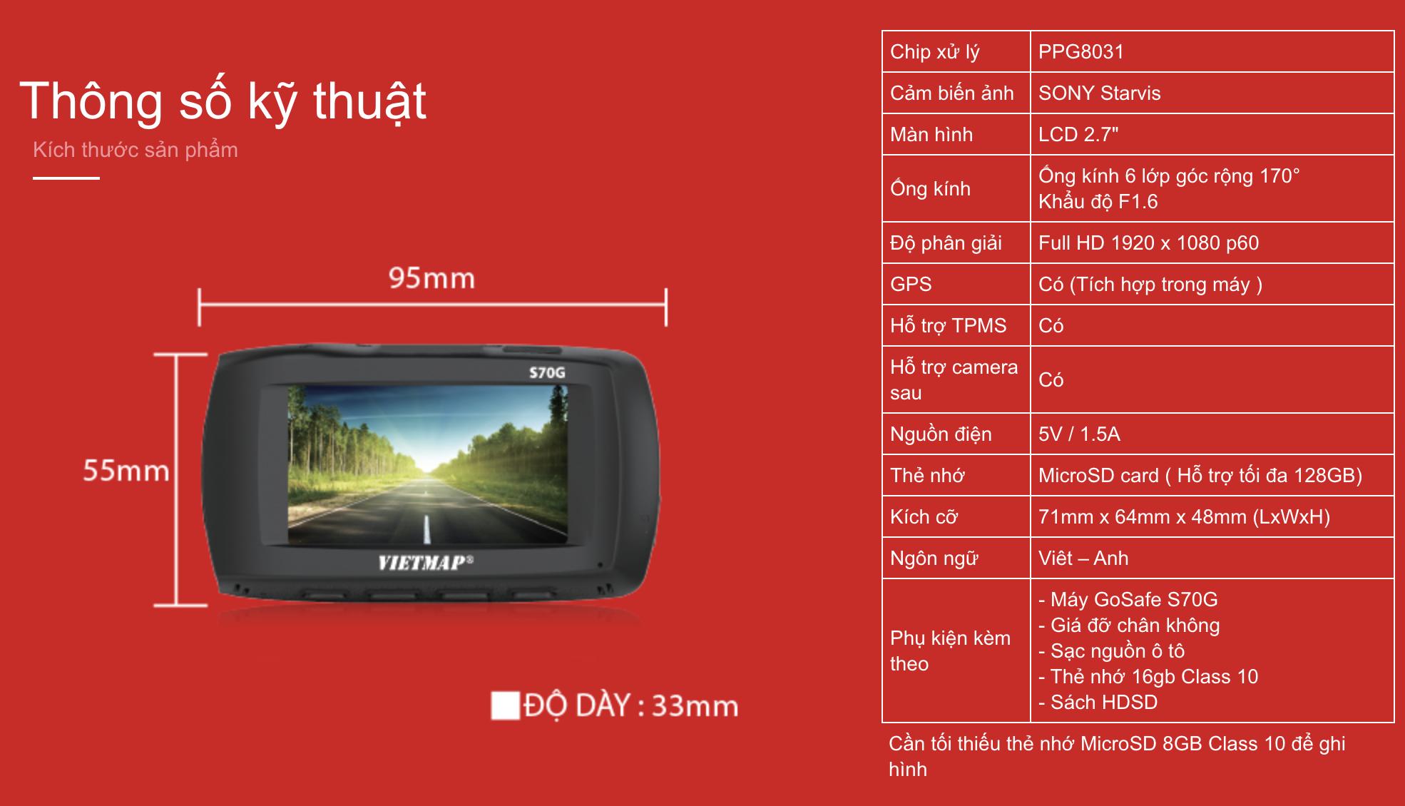 Thông số kỹ thuật của Camera hành trình Vietmap Gosafe S70G