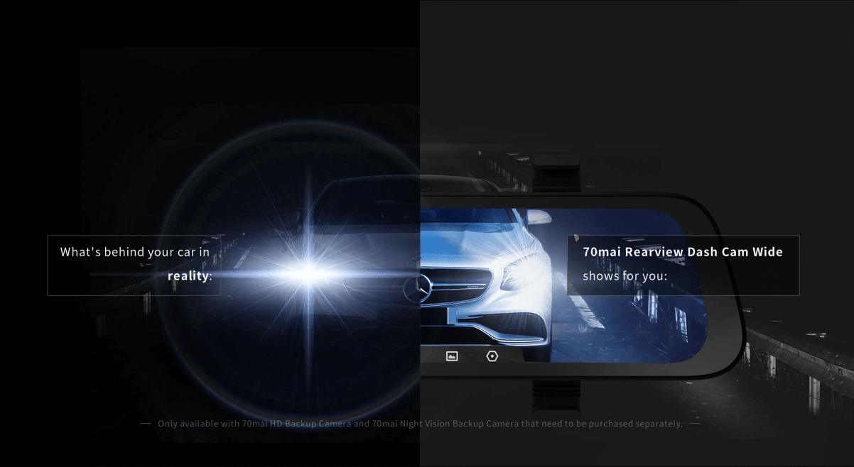 70mai rearview có chế độ chống chói vào ban đêm