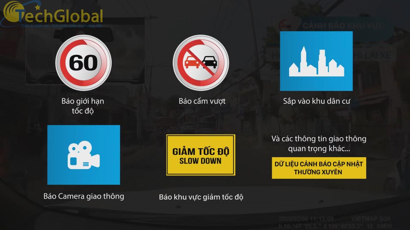 Vietmap G39 Cảnh báo thông tin giao thông bằng giọng nói