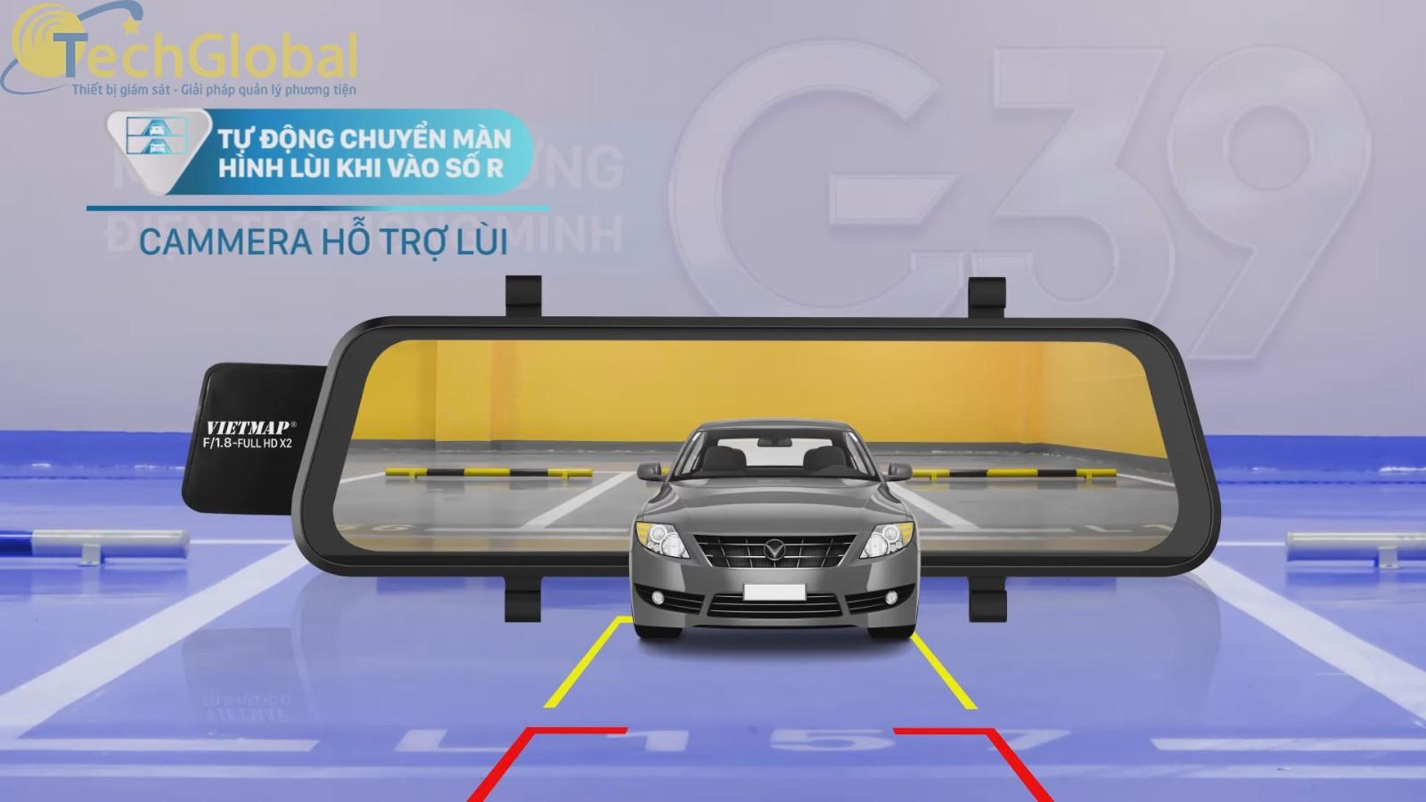 Vietmap G39 Có camera sau chống nước và hỗ trợ hiển thị khi vào số R lùi xe