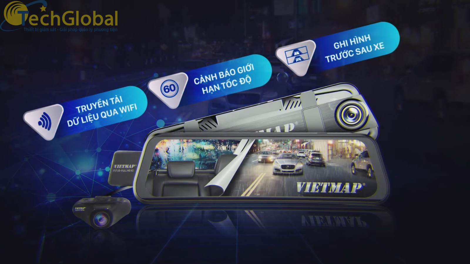 Vietmap G39 sở hữu mắt ghi hình trước và sau có độ phân giải Full HD 1920 x 1080P