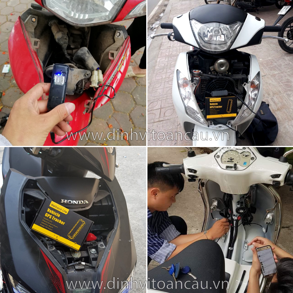 Hình ảnh thực tế lắp đặt định vị vào xe máy tại techglobal