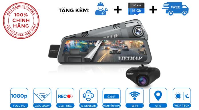 Camera hành trình gương Vietmap G39 màn cảm ứng 9.66'' Đa tính năng trong 1