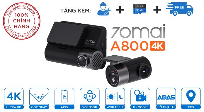 Camera Hành Trình Xiaomi 70mai A800 Ghi Hình 4K Wifi GPS