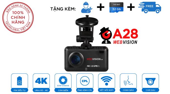 Camera Hành Trình Webvision A28 - Cảnh Báo Giao Thông - Ghi Hình 4K