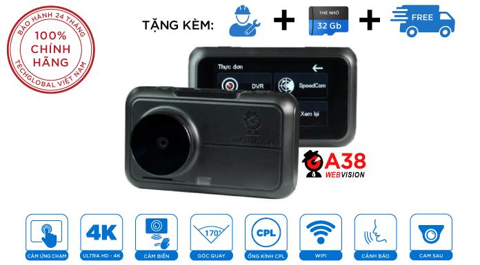 Camera Hành Trình Webvision A38 Siêu Cảnh Báo Giao Thông Ghi Hình Trước Sau