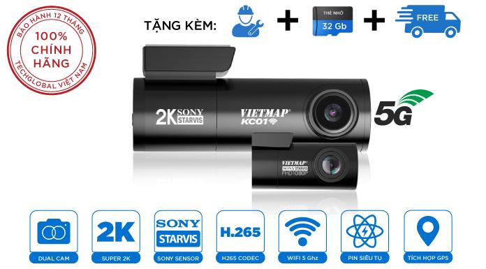 Camera Hành Trình Vietmap KC01 Siêu Nhỏ Ghi Hình 2 Mắt Trước Sau - Có Wifi - Cảm Biến Sony