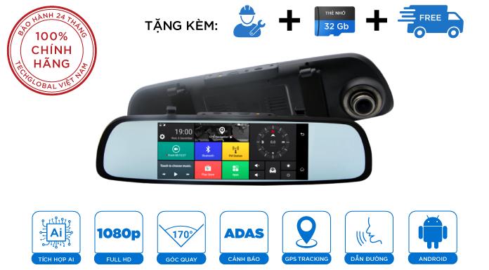 Camera Hành Trình Gương Webvision M39 AI Tích Hợp GPS - Wifi - Giám Sát Từ Xa