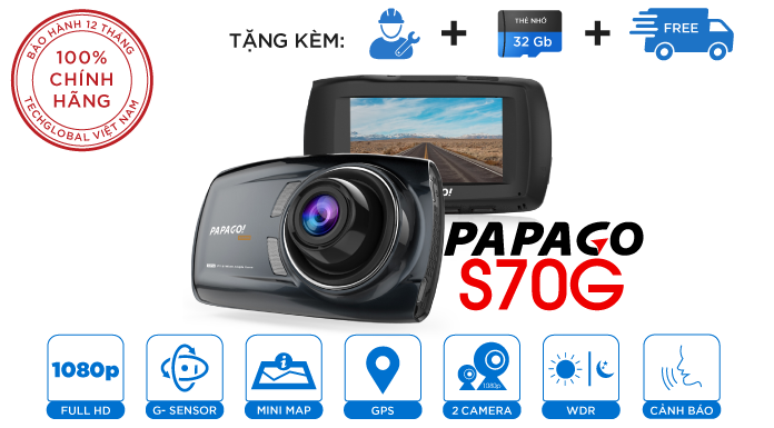 Camera hành trình Vietmap Gosafe S70G Cảm biến Sony - Cảnh báo giao thông giọng nói