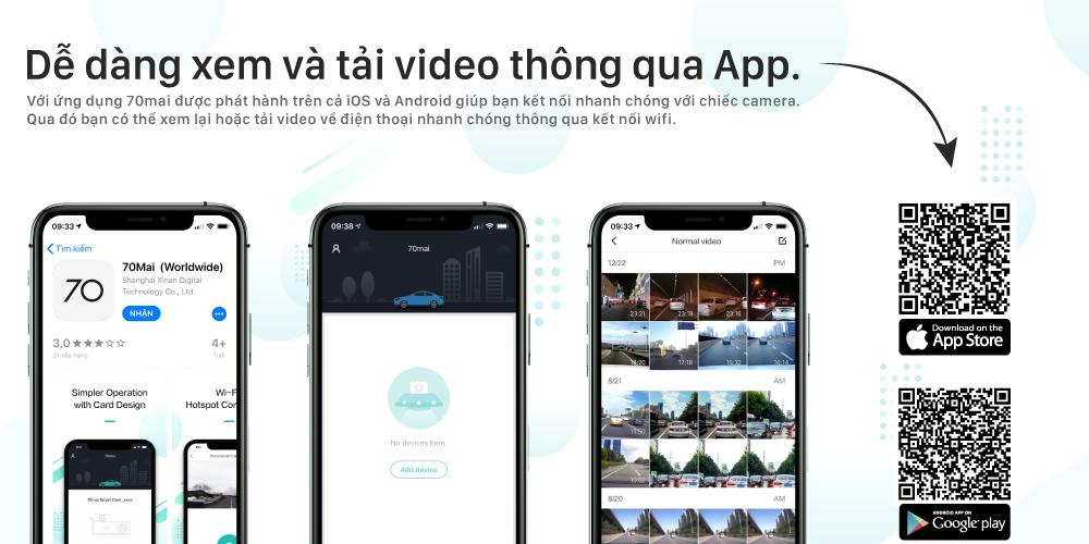 Camera hành trình 70mai Lite hỗ trợ xem video ngay trên điện thoại