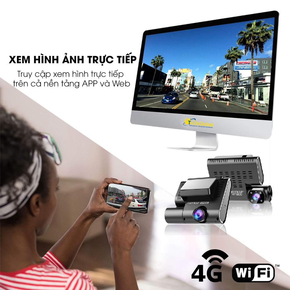 Camera hành trình Vietmap VM200 hỗ trợ xem video và định vị trực tuyến trên máy tính và cả điện thoại từ xa