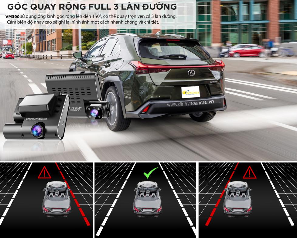 VM200 hỗ trợ ghi hình phía trước xe góc quay rộng 140 độ full 3 làn đường với chất lượng Full HD 1080p toàn cảnh. Cảm biến độ nhậy cao ghi lại hình ảnh một cách nhanh chóng và chi tiết.
