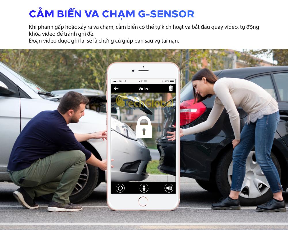 Camera VM200 có tích hợp cảm biến G-sensor giúp tự động phát hiện va chạm tự động ghi lại, khóa đoạn video và lưu các tệp video đó để sau này bạn không bị mất chúng