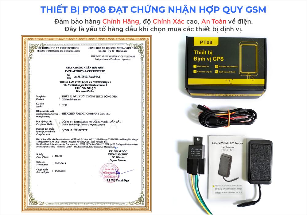 Giấy chứng nhận hợp quy của thiết bị định vị xe máy PT08
