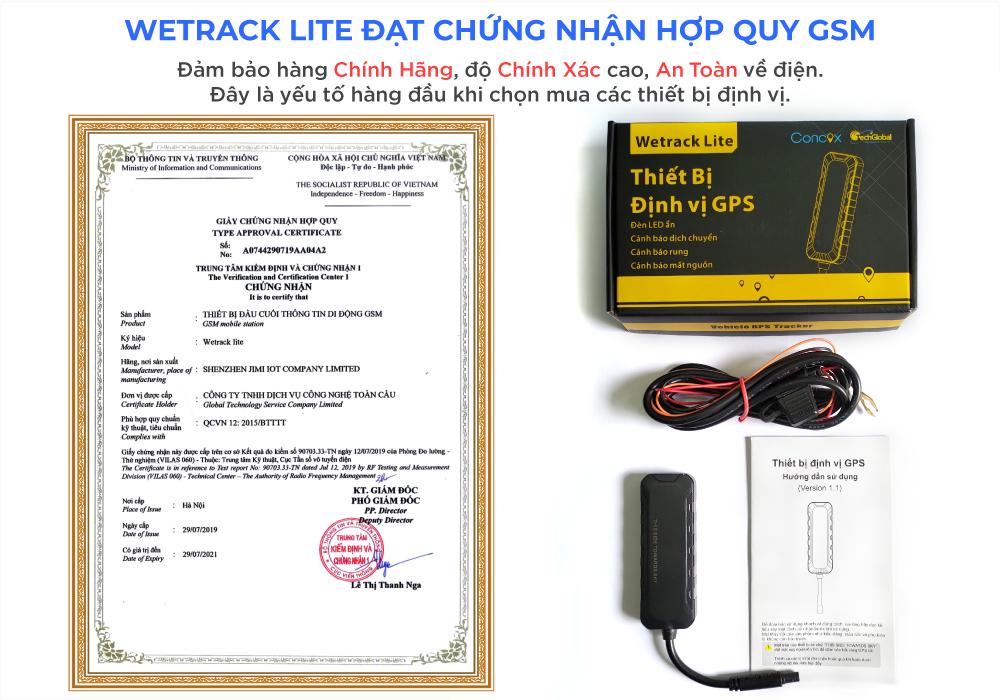 Thiết bị Wetrack lite đạt chứng nhận hợp quy GSM đảm bảo hàng chất lượng