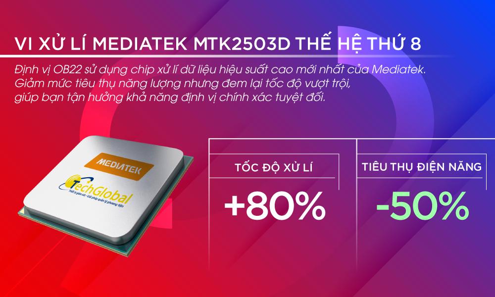 Thiết bị định vị ô tô OB22 sử dụng chip xử lý MTK2503D mang đến tốc độ vượt trội
