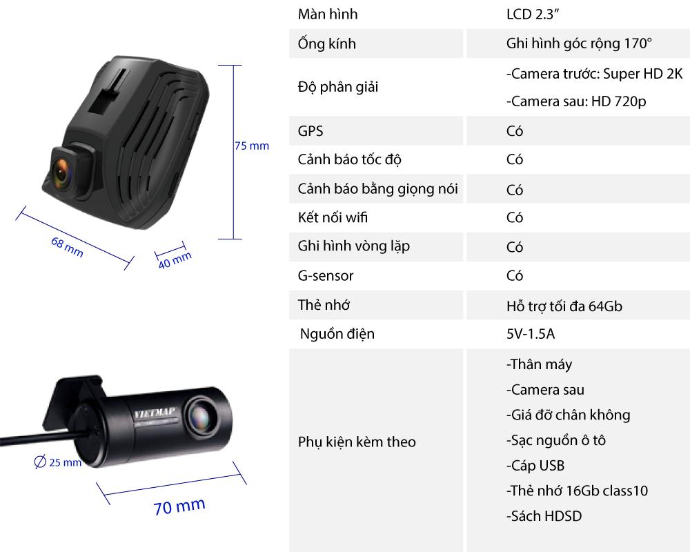 Thông số kỹ thuật của camera hành trình ô tô C62